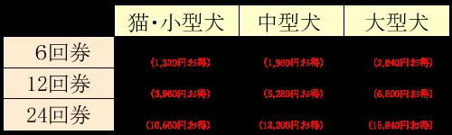 デイケア回数券料金表2021-